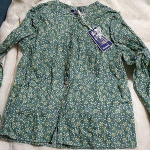 Green Aqua Blouse 100% Cotton Size 12 NWT
